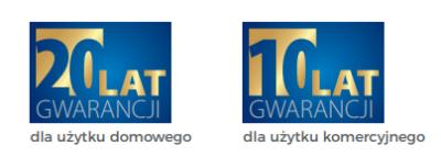 panele info gwarancja producenta: 10 lat dla użytku komercyjnego i 20 lat dla użytku domowego
